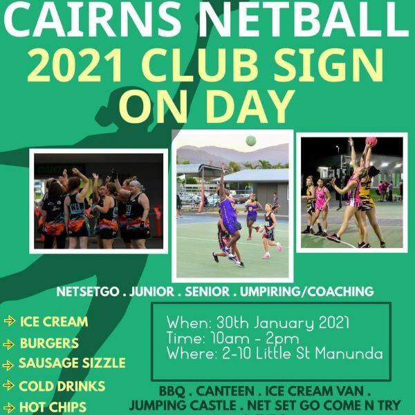 Cairns Netball 2021 Club Sign On Day